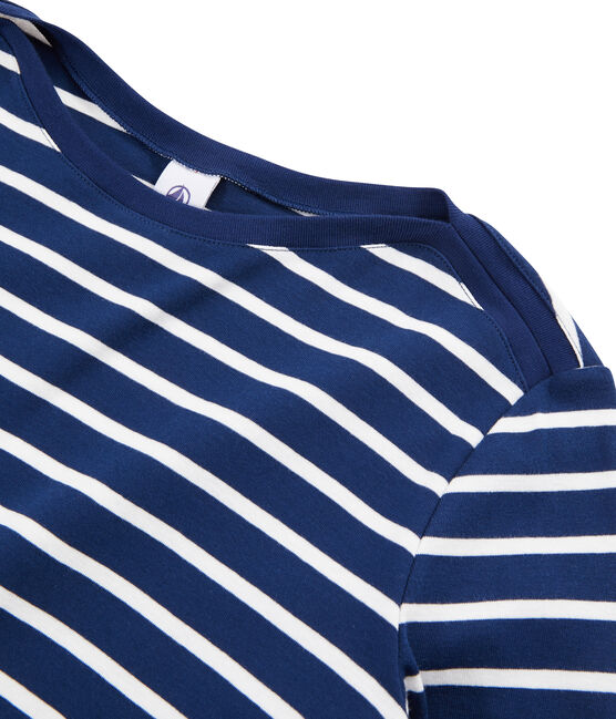 Women's Breton T-Shirt Medieval blue / Marshmallow white