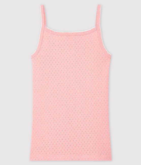 Women's strappy top with decorative touches Charme pink / Ecume white