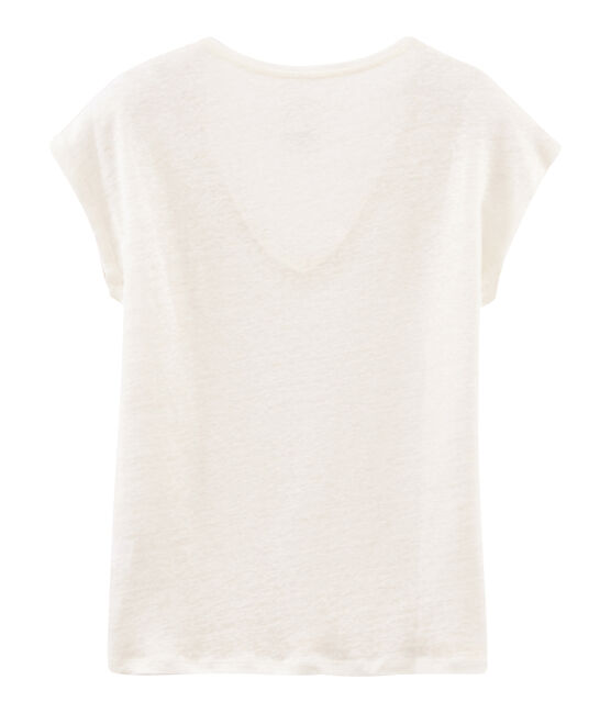 Women's iridescent linen short-sleeved t-shirt Marshmallow white / Copper pink
