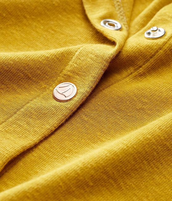 Baby girls' cotton/linen cardigan Bamboo yellow