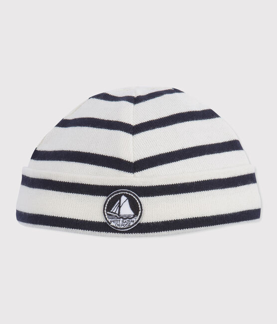 Baby boy's iconic hat Coquille beige / Smoking blue