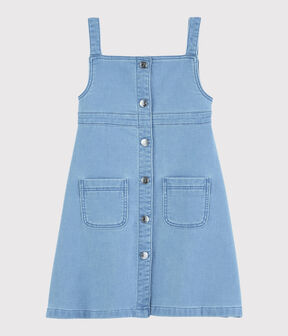 Girls' Denim Fleece Dungaree Dress Denim clair blue