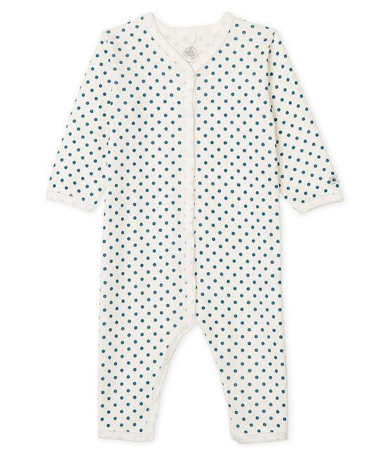 Baby Girls' Footless Sleepsuit Marshmallow white / Contes blue