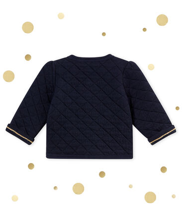 Baby girl's shiny quilted cotton tubic cardigan