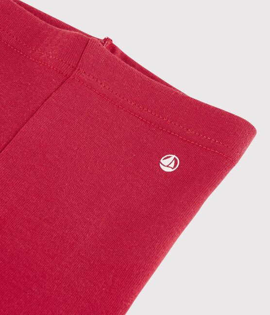 Baby girl's leggings in plain 1x1 rib knit Terkuit red