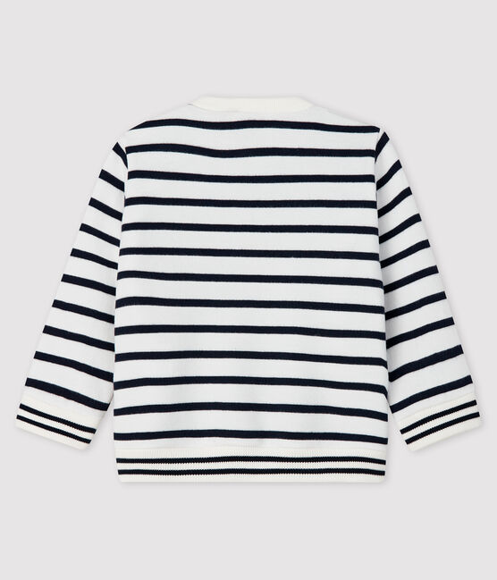 Baby boy's fleece sweatshirt Marshmallow white / Smoking blue