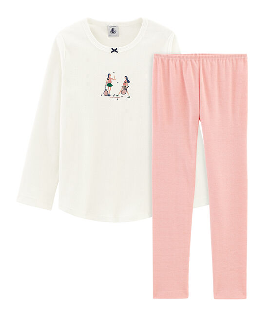 Girls' Pyjamas Marshmallow white / Rosako pink