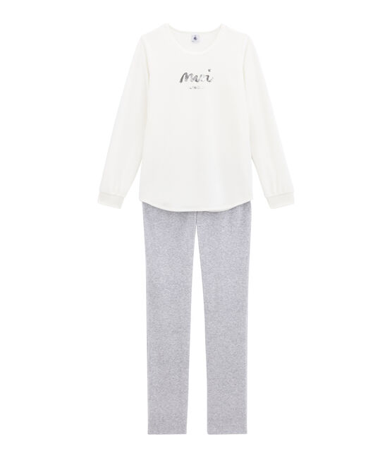 Girl's pyjamas Marshmallow white / Poussiere grey