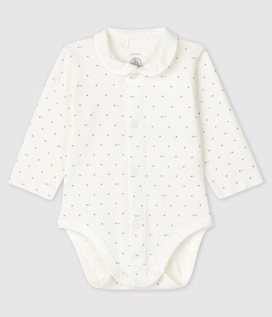 Unisex long-sleeved bodysuit with collar Marshmallow white / Acier blue