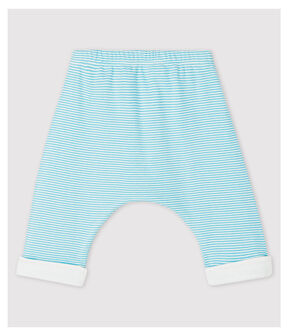 Babies' Blue Stripy Lined Organic Cotton Trousers Tiki blue / Marshmallow white