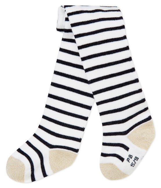 Baby girl's iconic tights Marshmallow white / Smoking blue