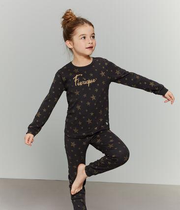 Girls' Ribbed Pyjamas Capecod grey / Or yellow