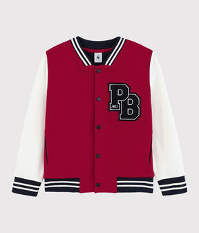 Children's Unisex Fleece Baseball Jacket Terkuit red / Marshmallow white