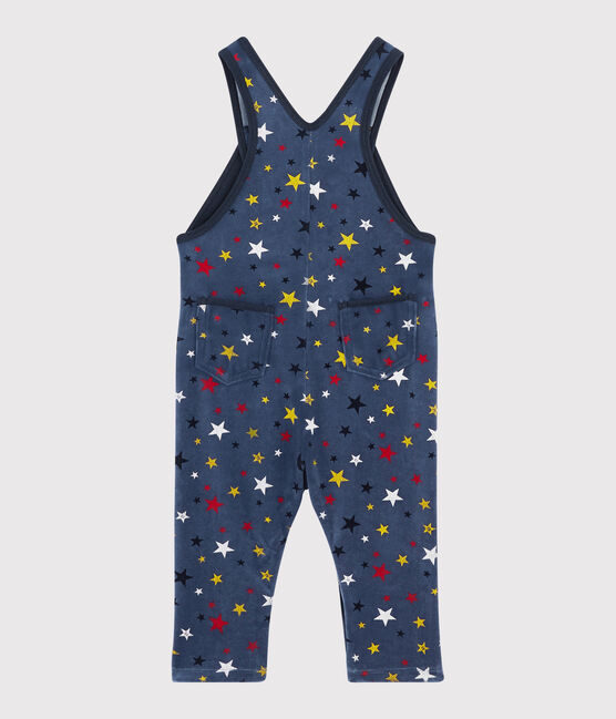 Baby boy's long dungarees Medieval blue / Multico white