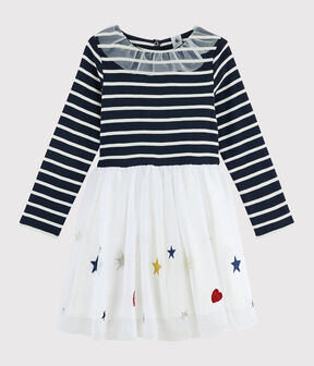 Girl's Long-sleeved Dress Smoking blue / Multico white