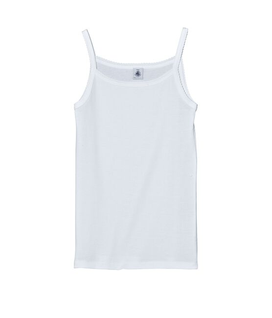 Girl's vest top with cocotte stitch finish Ecume white