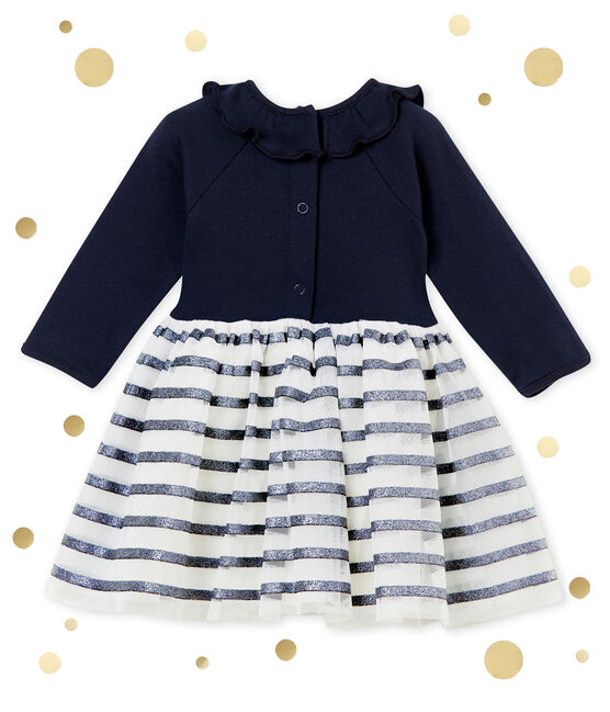 Baby girl's tulle dress Smoking blue / Dore yellow