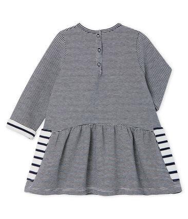 Baby Girls' Long-Sleeved Striped Dress Smoking blue / Marshmallow Cn white