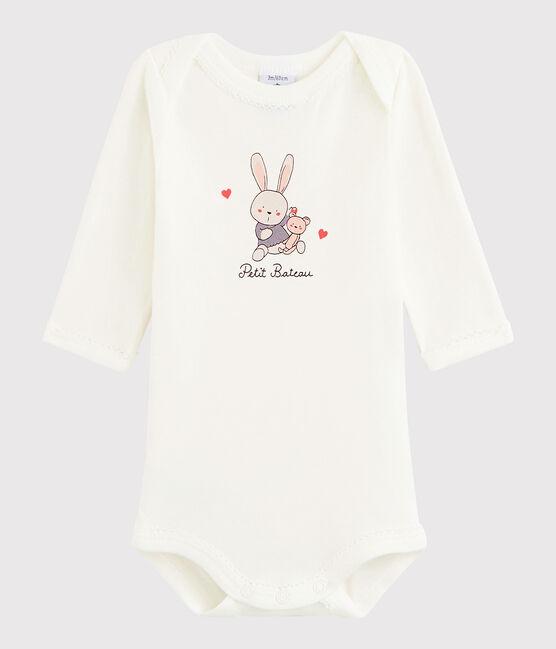 Baby Girls' Long-Sleeved Bodysuit Marshmallow white