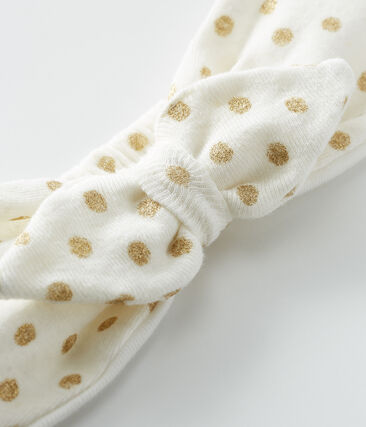 Hair band for baby girls Marshmallow white / Or yellow