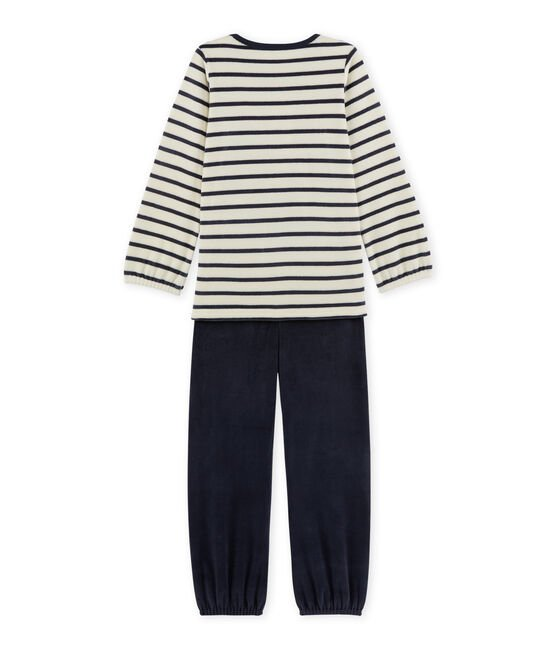 Girl's terry velour pyjamas Coquille beige / Smoking blue