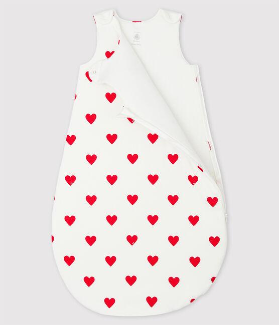 Babies' Red Heart Pattern Cotton Sleeping Bag Marshmallow white / Terkuit red