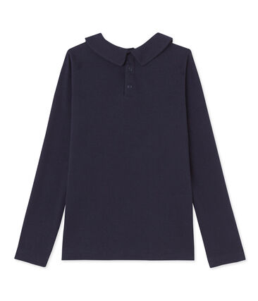 Girl's T-shirt with Peter Pan collar Haddock blue
