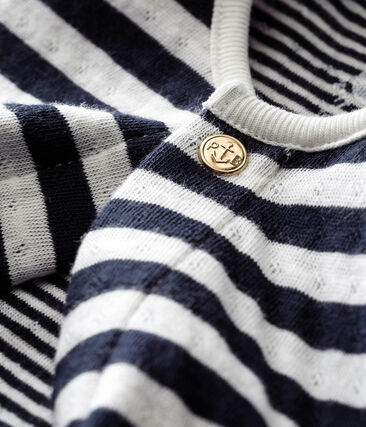 Unisex baby's cardigan in a striped tubic