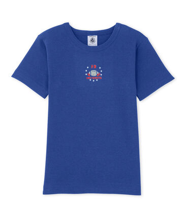Boy's patterned tee Peter blue