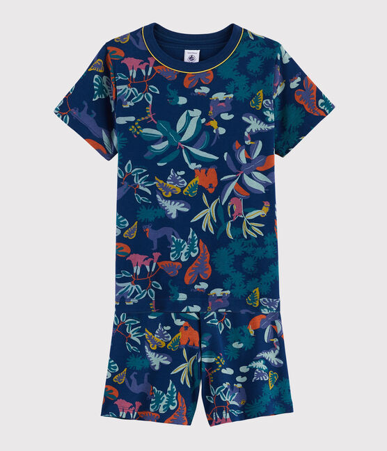 Boys' Jungle Print Ribbed Short Pyjamas Medieval blue / Multico white
