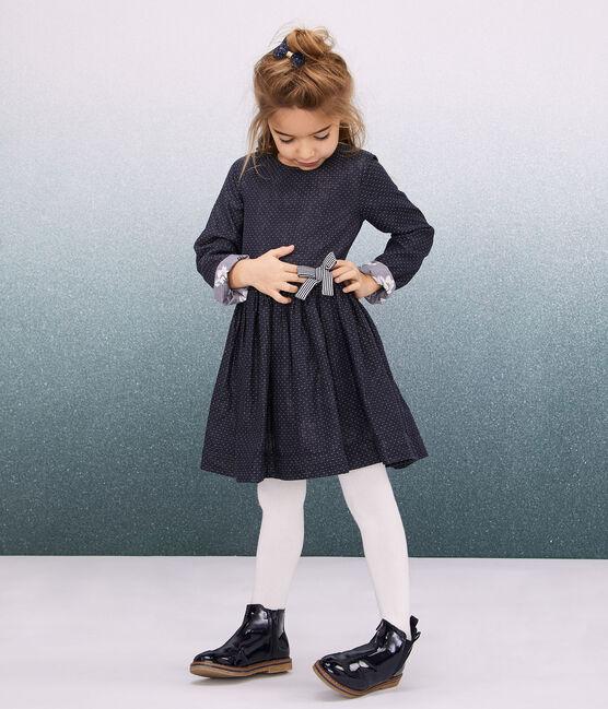 Girl's Long-sleeved Dress Smoking blue / Marshmallow white