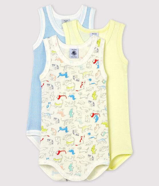 Babies' Puppy Pattern Sleeveless Organic Cotton Bodysuits - 3-Pack . set