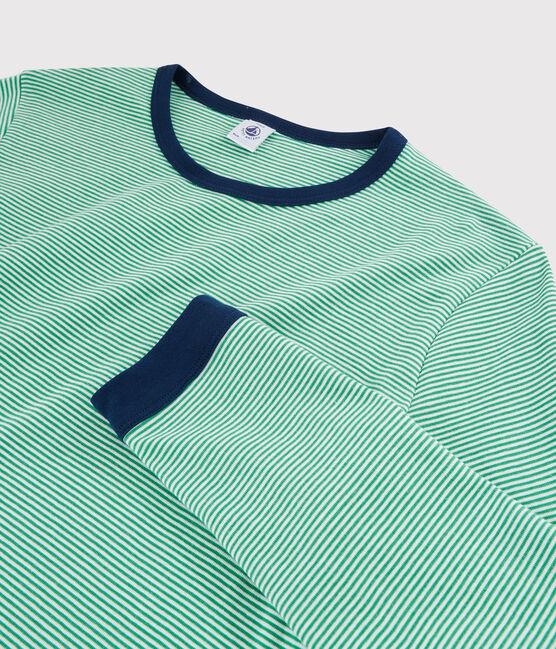 Boys' Pinstriped Ribbed Pyjamas Prado green / Marshmallow white
