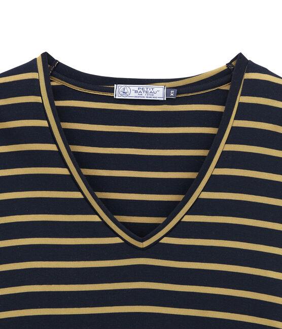 women's long sleeved t-shirt Smoking blue / Brindille Satin yellow