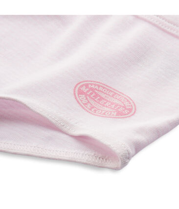Boxer fille rayé milleraies Vienne pink / Ecume white