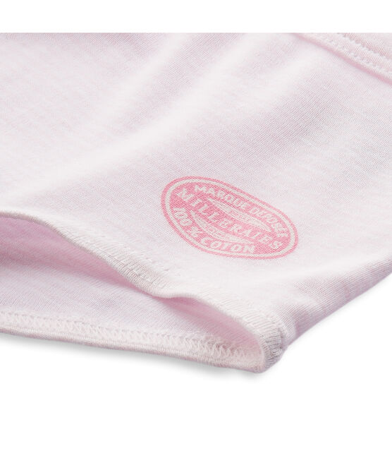 Boxer fille rayé milleraies Vienne pink / Ecume white