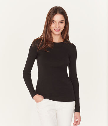 Women's iconic plain long-sleeved round neck T-shirt