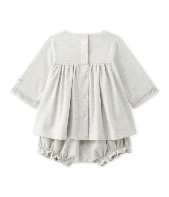 Baby girl's embroidered twill dress with bloomers Gris Chine grey
