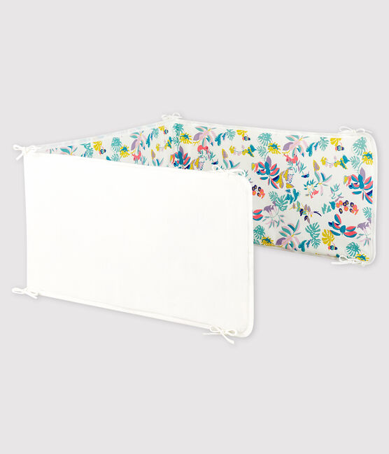 Baby Girls' Jungle Print Ribbed Cot Bumper Marshmallow white / Multico white