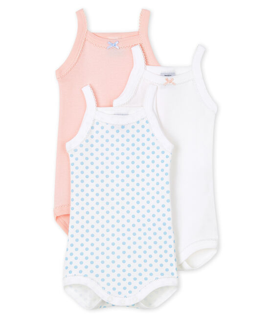 Baby girls' bodysuit with straps - Set of 3 . set