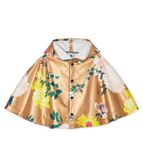 Print rain cape for baby girls Cuivre brown / Multico white