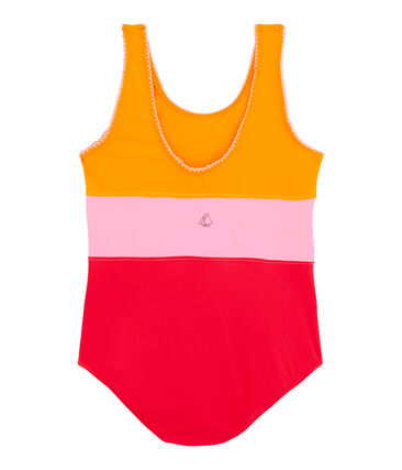 Girls' One-Piece Swimsuit Tiger orange / Multico white