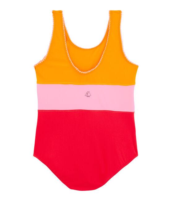 Girl's Eco-Friendly Swimsuit Tiger orange / Multico white
