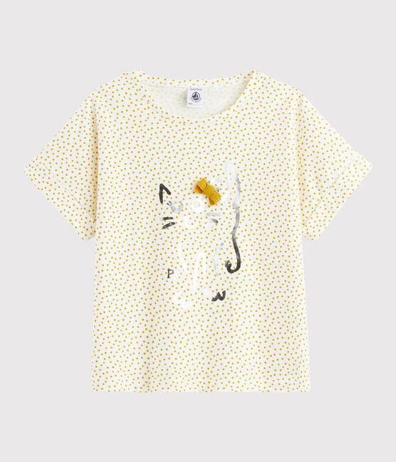 Girls' printed T-shirt Marshmallow white / Boudor yellow