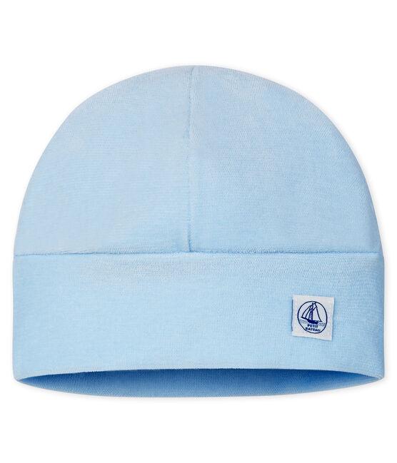Newborn Babies' Velour Bonnet Toudou blue