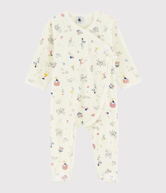 Baby Girls' Print Velour Sleepsuit Marshmallow white / Multico white