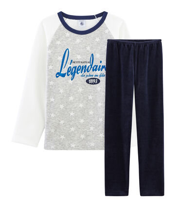Boys' Velour Pyjamas Smoking blue / Multico white