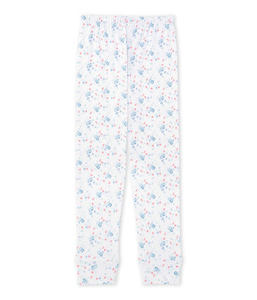 Girls' coordinating print pyjama bottoms Ecume white / Bleu blue