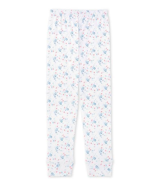 Girls' coordinating print pyjama bottoms Ecume white / Bleu blue