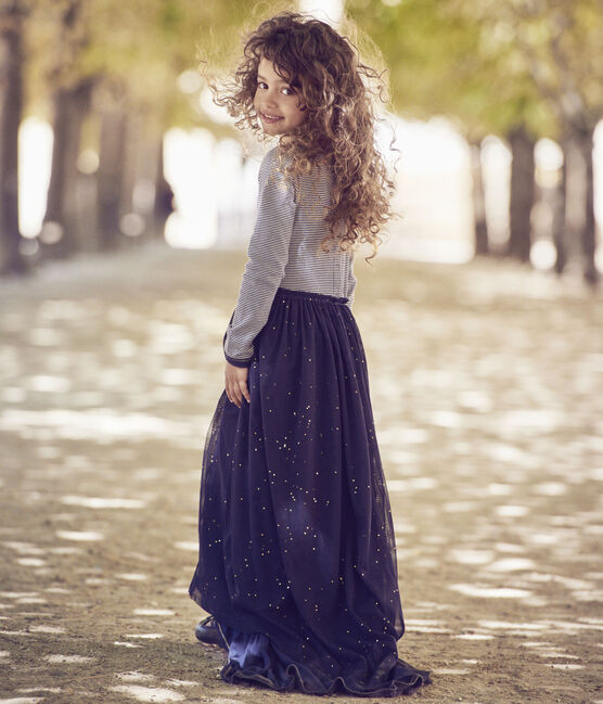 Girl's long-sleeved dress with a 2-in-1 look Petit bateau x Marie-Agnès Gillot Smoking blue / Coquille beige